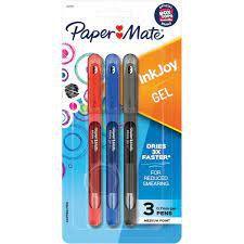 Caneta Gel  InkJoy 0.7mm (3 Cores Básicas) - Paper Mate