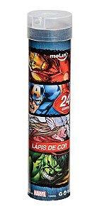 Tubo de Lápis de Cor Avengers  ( 24 cores + Apontador ) - Molin