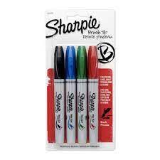 Marcador Permanente  Brush Pen (c/ 4 Cores) - Sharpie