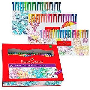 Caneta Fine Pen ( 60 cores) - Faber Castell