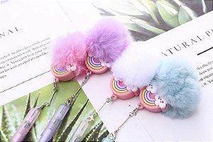 Caneta Esferográfica Rainbow Pingente de pelúcia