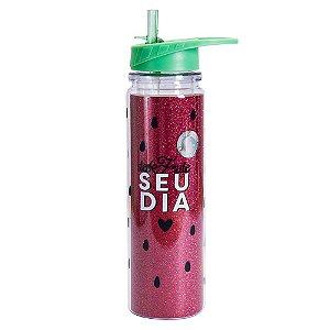 Garrafa Canudo Retrátil com Glitter - Desfrute