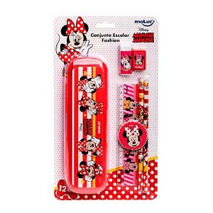 Conjunto Escolar  Fashion Minnie - Kit Com12 itens