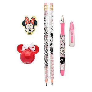 Kit Escolar Minnie Mouse - 5 Itens