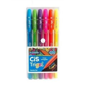 Kit Canetas Cis Trigel com 6 Cores - Neon