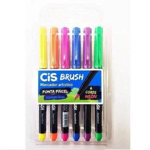 Brush Pen CIS Brush Kit com 6 Cores Neon