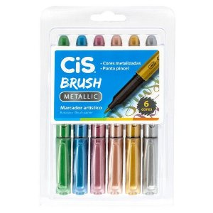 Conjunto Marcador Ponta Pincel CIS Brush Metallic