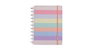 Caderno Arco-Iris Pastel (Grande) - Caderno Inteligente