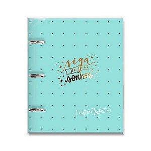 Caderno Argolado ( Fichário ) Verde Estrelas - Fina Ideia