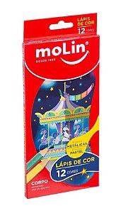 Lápis de Cor Metálico + Pastel ( 12 cores)