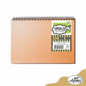 Caderno Sem Pauta Para Desenho Capa Kraft Folhas Brancas 180g - Merci