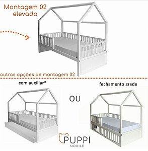 Cama Montessori Solteiro 4 em 1 COM Auxiliar - Puppi