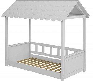 Cama Montessori Branca Madeira Maciça com Telhadinho