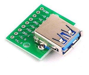Módulo Conector Usb Fêmea 3.0 para DIP-4