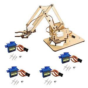 Kit Braço Robótico(Estrutura em MDF + Servos Motores)