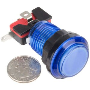 Botão Iluminado Fliperama Arcade Azul