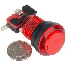 Botão Iluminado Fliperama Arcade Vermelho
