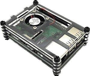 Case Acrílico 9 Layers com Cooler para Raspberry Pi + Dissipadores