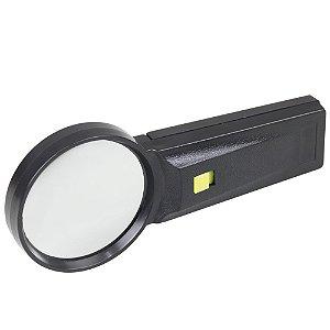 Lupa de Mão com Lente de Vidro 75mm e Luz