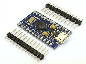 Placa Microcontrolador ATMEGA32U4 5V 16Mhz (Compatível com Arduino Pro Micro)