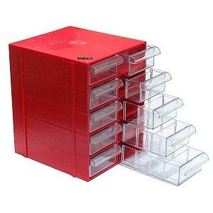 Gaveteiro Plástico CG510 com 5 Divisões por Gaveta - Vermelho