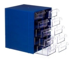 Gaveteiro Plástico CG510 com 5 Divisões por Gaveta - Azul