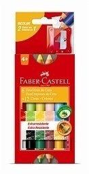 Giz Cera 12 Cores Ecogiz Bicolor Faber C/Apontador Ht141412