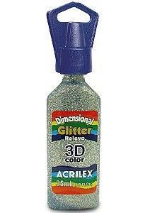 Tinta Dimensional Glitter Acrilex 35Ml Ref.202 Prata