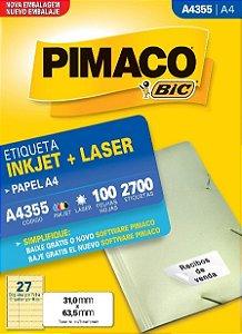 Etiqueta Pimaco Inkjet/Laser 355 Cx c/100Fls A4 2700Un