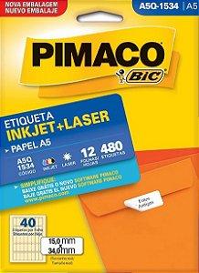 Etiqueta Pimaco Inkjet/Laser Q1534 Cx c/12Fl A5 480Un
