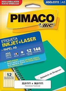 Etiqueta Pimaco Inkjet/Laser Q2372 Cx c/12Fl A5 144Un