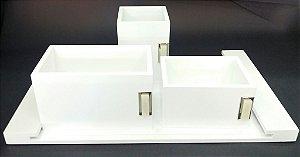 Kit Escritório Vital Decors Madeira Branca Pedras A4 c/4 peças