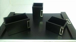 Kit Escritório Vital Decors Madeira Preta  A3 c/4 peças