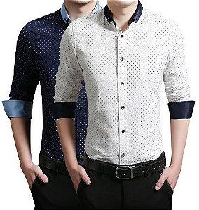 Camisa Social Slim Premium De Bolinha Estilo Escocia