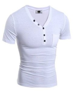 Camiseta Slim Fit Gola V Estilo Frances