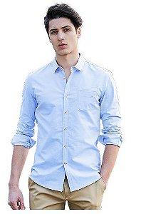 Camisa Jeans Slim Estilo Britânico Lançamento