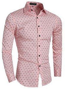 Camisa Social Estampada Bolinha Estilo Inglaterra Original