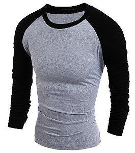 Camisa Raglan Manga Longa, Estilo Europeu Alta Qualidade.