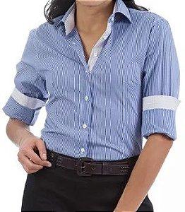 Camisa Social Feminina Listrado Azul