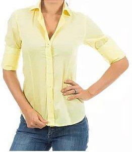 Camisa Manga Longa Feminina Amarelo Liso