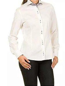 Camisa Feminina Branco Detalhes em Xadrez