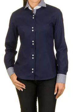 Camisa Feminina Executiva Azul Marinho Detalhes em Listrado