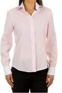 Camisa Feminina Elegante Rosa Bebê