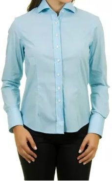 Camisa Feminina Manga longa Azul Claro Liso