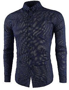 Camisa Social Slim Fit Bolinha Estilo Inglaterra. ba61399f50e02