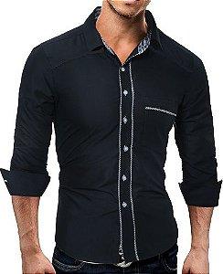 Camisa Social Slim Fit Detalhes Em Xadrez Estilo New York