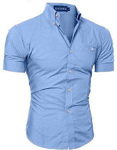 Camisa Social Slim Manga Curta Estilo Las Vegas 946dafa384579