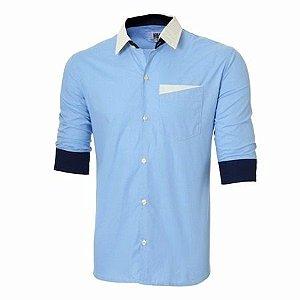 Camisa Social Slim Fit Manga 3 4 Estilo Londres 10b6feac98349