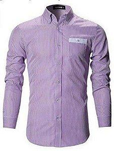 Camisa Manga Longa Slim Listrado Noblemen's