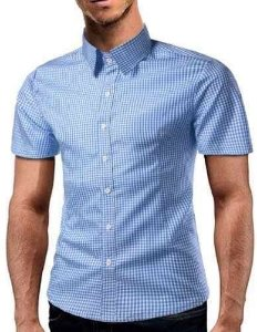 Camisa Social Masculina - Slim Fit - Xadrez Manga Curta